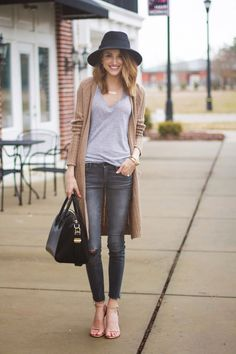 V-neck, Jeans and cardigan