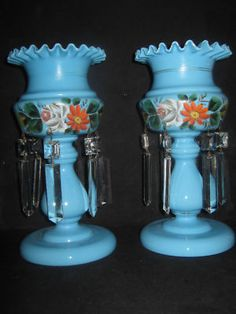 pair of antique glass hand cut and painted bristol luster must see