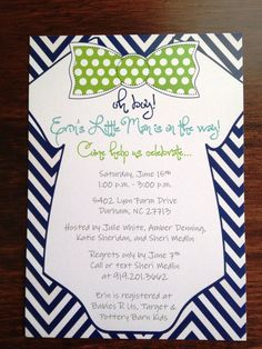 Bow Tie Baby Shower Invitation by BonBini on Etsy, $15.00