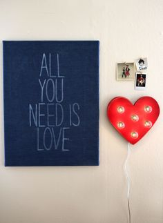 All You Need Is Love DIY art from a Beautiful Mess