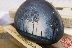 【小弦石头铺】【亲爱的三毛·明日又天涯】手绘石头礼物 摆设