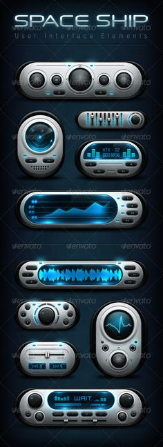 Space Ship User Interface Elements - User Interfaces Web Elements