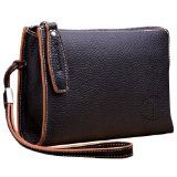 Teemzone Genuine Top Leather Business Crard Cash Holder Wrist Clutch Bag Handbag
