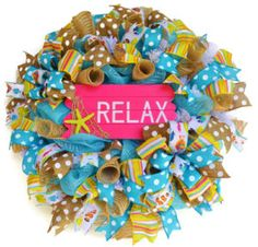 Summer wreath with relax beach sign pink by EverydaySplendor Summer Wreath, 4th Of July Wreath, Turquoise Wreath, Trendy Home Decor, Beach Signs, Wreaths For Front Door, Relax, Spring, Handmade