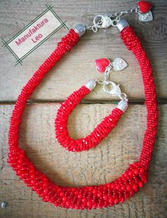 Red necklace and bracelet by Manufaktura Leo. Preciosa and CrystaLove Red Necklace, Leather Working, Leo, Jewelry Making, Bracelets, Handmade, Hand Made, Jewellery Making, Make Jewelry