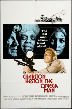The Omega Man (1971)   Starring: Charlton Heston   #Horror #Movies #HorrorMovie   This is the original 'I Am Legend' story. It's an end of days scenario where the only human left is Heston, the population turned to dark creatures out to torment him when the sun goes down. Heston's star power drives his solitary performance, hitting home how empty and scared you would feel to be alone, trapped and unable to go out while being surrounded by monsters bent on destroying you.