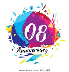 8th years greeting card anniversary with colorful number and frame. logo and…
