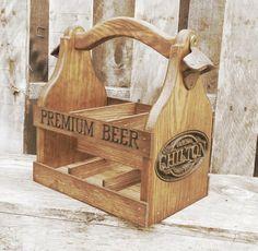 Wood Beer Tote  Wooden Beer Carrier  Six Pack Home by MVwoodworks