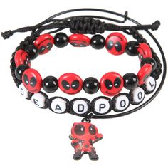 Marvel Deadpool Smiley Bracelet Set (30 RON) ❤ liked on Polyvore featuring jewelry, bracelets, multi, beaded bangles, metal charms, charm bangles, charm jewelry and beaded jewelry