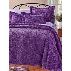Choose a new bedspread in velvety soft chenille today. Description from… Purple Bedspread, Purple Bedding Sets, Chenille Bedspread, Purple Bedrooms, Comforter Sets, Natural Bedroom, Futon Bed, Linen Bedding, Bed Linens
