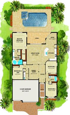The Princeton new home floor plan: 2,245 sq. ft. / 1 Story / 4 Bedrooms / 2 Bathrooms / Pool