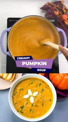Pumpkin Recipes Side Dish, Canned Pumpkin Recipes, Vegan Pumpkin Soup, Creamy Pumpkin Soup, Healthy Soup Recipes, Fall Recipes, Pumkin Soup, Vegetarian Recipes, Vegetable Side Dishes