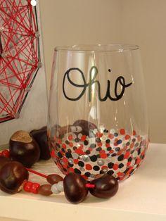 Hand Painted Ohio State Wine Glasses