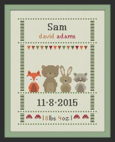 cross stitch baby birth sampler birth announcement by Happinesst Baby Cross Stitch Patterns, Cross Stitch Baby, Modern Cross Stitch, Cross Stitch Designs, Baby Patterns, Cross Stitching, Cross Stitch Embroidery, Minnie Baby, Baby Birth