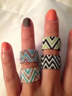 Handwoven Beaded Chevron Ring by ClaireElizabethDsign on Etsy