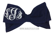 Monogrammed Navy Hair Bow - perfect for game day!