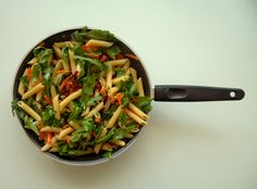 Penne with rucola, carrots nad dried tomatoes...sunny classic