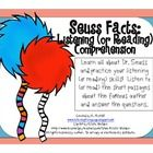 Seuss Facts Listening (or Reading) Comprehension is a fun activity to learn about Dr. Seuss and also practice listening (or reading) comprehension ...