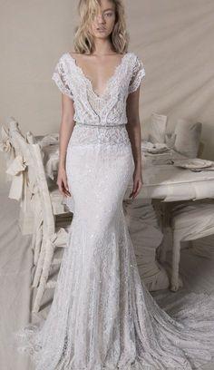 Short sleeve Lace bohemian wedding dress,boho wedding gown ,Lihi Hod Bridal,Lihi Hod 2018 wedding dresses,wedding dresses 2018 #bohodressesdiy #laceweddingdress