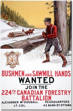 1915 and battalion bushmen canada canadian forester forestry hands horse join man men moving poster recruitment saw sawing sawmill sleds timber trees wanted war war