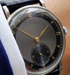 Investment grade 38mm Oversize Jumbo Omega Watch with stunning black two tone dial Mint condition