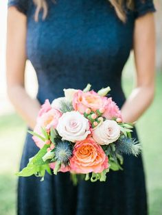 Claire and Tyler's Lakeside Colorado Wedding by Rachel Havel | Navy blue bridesmaid dresses were an elegant choice for this rustic wedding, while the bright hues of thistle, rose and pink peony wedding bouquets popped.
