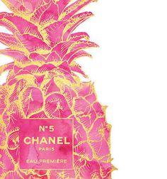 16x20 Gold & Pink Pineapple fashion Print Pineapple