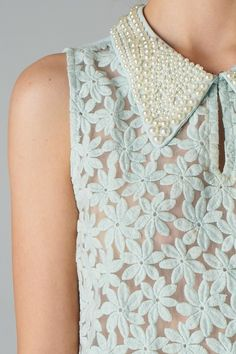 aqua lace with pearl beaded collar ~ Ana Rosa Mode Chic, Pearl And Lace, Sheer Blouse, Floral Blouse, Floral Lace, Refashion, Fashion Details, Ideias Fashion, Style Me