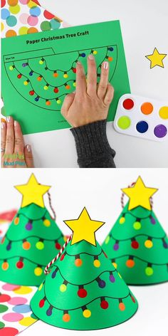Christmas Arts And Crafts, Christmas Crafts For Toddlers, Kids Christmas, Christmas Tree Template, Christmas Tree Crafts, Cool Christmas Trees, Preschool Crafts, Diy Crafts, Free Printable