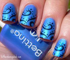 Blue swirly nails.