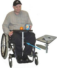The ADALAP is a lap desk designed for use by individuals who use wheelchairs. The basic unit includes the base and pole with a top plate with a Velcro loop. $199
