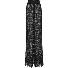 Fausto Puglisi Button Front Lace Skirt (€1.395) ❤ liked on Polyvore featuring skirts, black, high rise maxi skirt, high-waist skirt, lace skirt, high waisted maxi skirt and high waisted lace skirt
