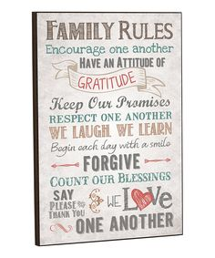 'Family Rules' Wall Sign | zulily