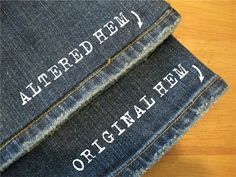 How to hem jeans and keep the original hem. I hate losing the look of the original hem! Sewing Tutorials, Sewing Hacks, Sewing Crafts, Sewing Projects, Sewing Patterns, Sewing Tips, Fun Projects, Diy Crafts, Creative Crafts