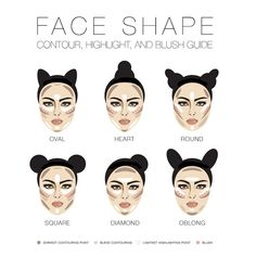 What is your actual face shape? How to correctly doing contour, highlight and blush apply? - Correct ways to apply contour, highlight and blush could help to reshape and give more curves on yo - Face Shape Contour, Face Contouring, Contour Makeup, Contouring And Highlighting, Skin Makeup, Beauty Makeup, Contour Heart Shaped Face, Contouring Products, How To Contour Your Face
