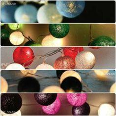 COTTON BALL STRING FAIRY LIGHTS (Ebay n. 13€, musta, harmaa, valkoinen)