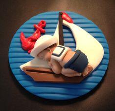 Fondant edible baby nautical sailor cake by evynisscaketopper Fondant Baby, Fondant Cakes, Cupcake Cakes, Car Cakes, Fondant Rose, Fondant Flowers, Baby Shower Cakes, Baby Shower Parties, Sailor Cake
