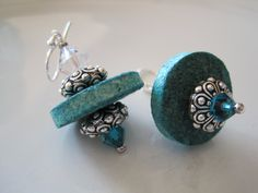 Cork Upcycled Earrings with Swarovski Crystals, Silver Accents in Turquoise Blue - Bella Earrings. $18.00, via Etsy.