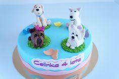 Tort z pieskami Birthday Cake, Desserts, Cupcake, Food, Tin Cans, Tailgate Desserts, Deserts, Birthday Cakes, Cupcakes