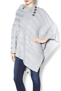Three Button Poncho, $59