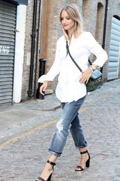 White shirt Isabella Oliver, jeans Acne, heels Tibi, bag Proenza Schouler