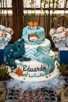 Festa fundo do mar: Mais de 50 ideias – Inspire sua Festa ® Birthday Cup, 1st Boy Birthday, Birthday Parties, Mermaid Parties, Fondant Cake Designs, Sea Cakes, Shark Party, Water Party, Inspire Sua Festa