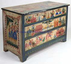 """FOLK-ART-DECORATED PINE CHEST OF DRAWERS,  the shaped top above two-over-two drawers and cut-out skirt to base. Fanciful polychrome-painted decorations. Signed """"Anno Domini 44"""" and """"ovince"""" within top decorations. Painted decoration attributed to Peter Hunt, Cape Cod, MA. Circa 1944. 32"""" H, 23"""" x 18"""" top. <BR><I>Very good condition with some wear to painted decoration, particularly to top, one rear foot pieced out.</I><BR> Proven... Hand Painted Furniture, Paint Furniture, Online Furniture, Furniture Design, Decoration, Art Decor, Home Decor, Pine Chests, Painted Boxes"""
