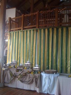Buffet Set up with Draped backdrop