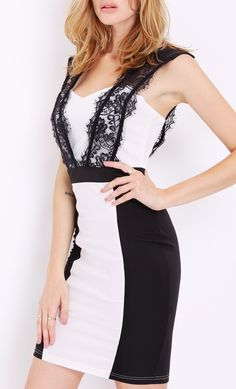 White / Black Sleeveless Dress