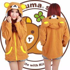 Women's San-X Rilakkuma Sweatshirt Hoodie Jacket Relax Bear Long Sleeve Jacket Rilakkuma, Looks Kawaii, Kawaii Style, Moe Manga, Kawaii Clothes, Kawaii Fashion, Women's Fashion, Wish Shopping, Hoodie Jacket