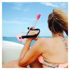 || Love the pink snorkel and mask || #ocean #beach #bikini #pink #snorkel #miami #colombia #soflo