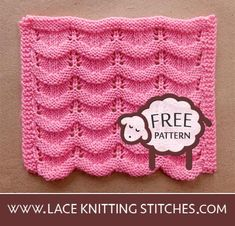 An easy lace pattern that you can knit feminine tops, breezy scarves or knitting lace afghans. Pattern includes written instructions and chart. Lace Knitting Stitches, Free Pattern, Chart, Crochet, Projects, Log Projects, Sewing Patterns Free, Knit Crochet, Crocheting