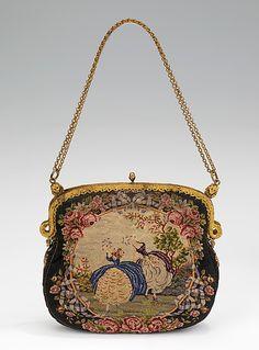 Evening purse Date: 1925–35 Culture: French Medium: silk, metal Dimensions: 7 1/2 x 12 1/2 in. (19.1 x 31.8 cm)