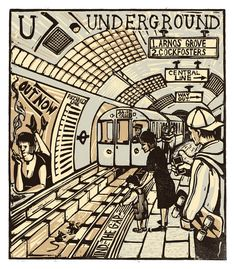 """U - Underground"" from ""London A-Z"" Complete Boxed Set linocuts by Tobias Till, 2012. http://www.tobias-till.co.uk/. Tags: Linocut, Cut, Print, Linoleum, Lino, Carving, Block, Woodcut, Helen Elstone, Buildings, Architecture, Trains, Tube, Station, People, London."